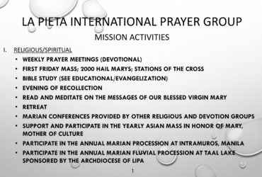 La Pieta International Mission Activities
